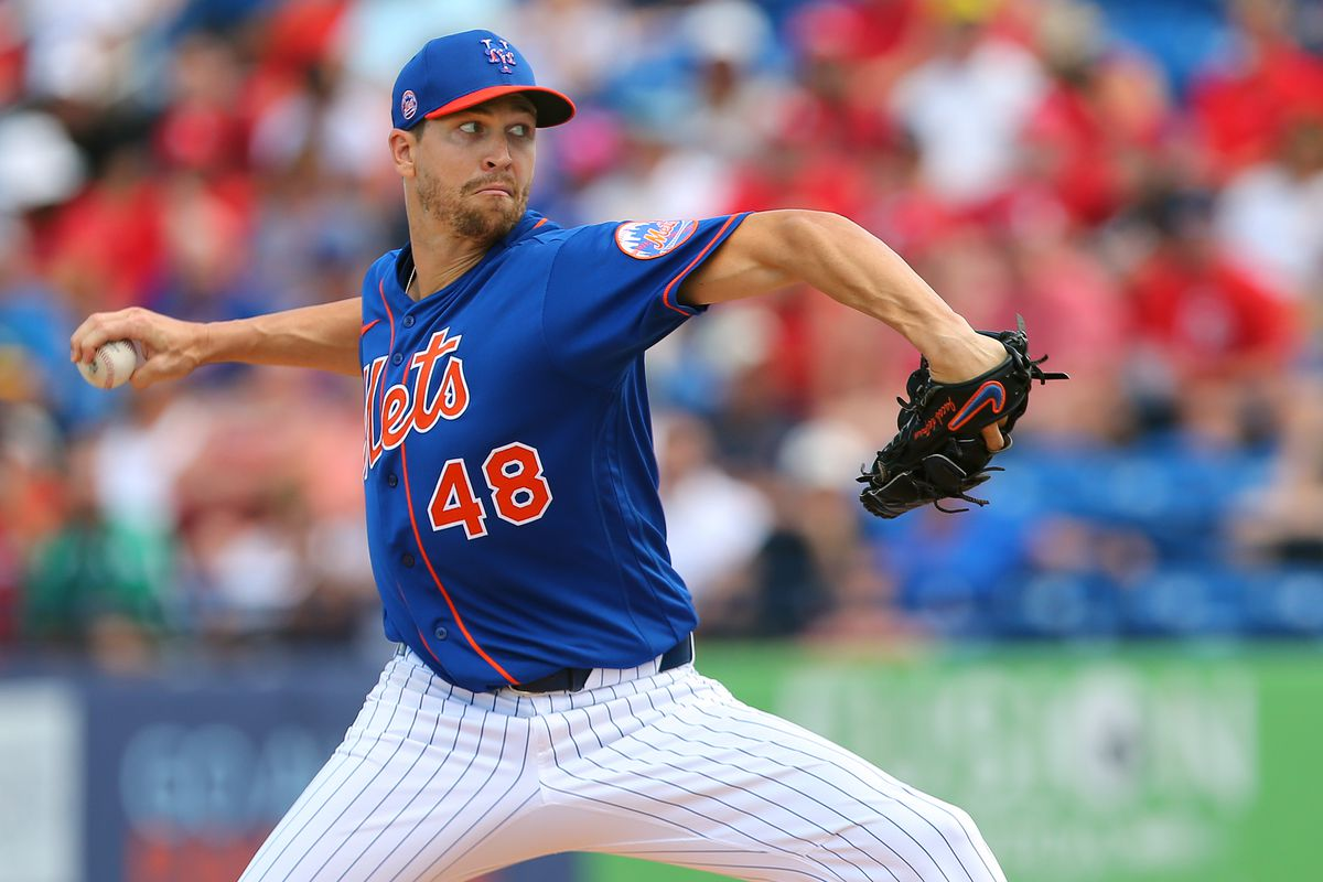 Jacob deGrom #48 of the New York Mets in action against the St. Louis Cardinals during a spring training baseball game at Clover Park at on March 11, 2020 in Port St. Lucie, Florida.