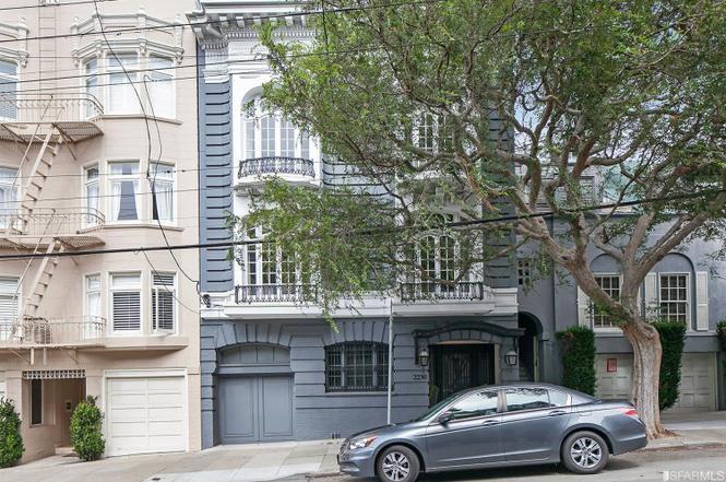 A grey San Francisco house on a hill.