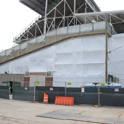 12:05 p.m. View of the sealed up north end of the third base concourse, which includes Gate K -
