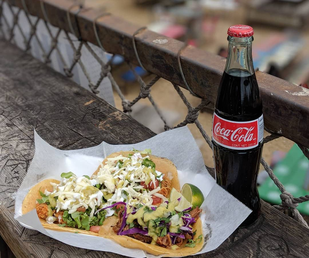 Three mayan tacos with a Mexican coke