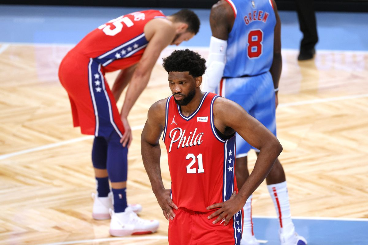 Joel Embiid of the Philadelphia 76ers reacts during the first half against the Brooklyn Nets at Barclays Center on January 07, 2021 in the Brooklyn borough of New York City.
