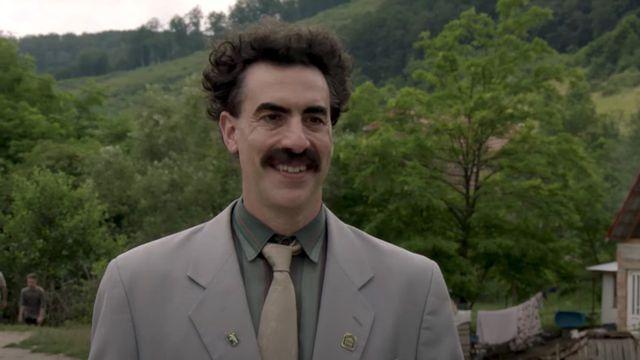 A still image of Borat from the Borat sequel