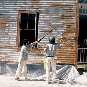 <p>Tom Thevenin, wielding a garden sprayer, douses the house's north side with trisodium phosphate, bleach and water to vanquish dirt and kill mold and mildew. D'Amato scrubs in the solution with a stiff-bristled long-handled brush.</p>