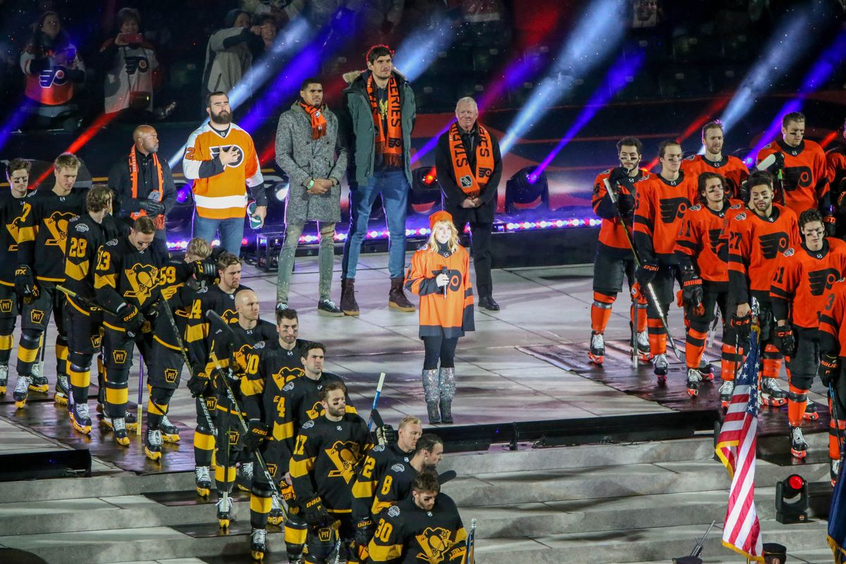 e9d6ada1eac Philadelphia Flyers anthem singer Lauren Hart prepares to sing the  Star-Spangled Banner before the Stadium Series game between the Pittsburgh  Penguins and ...
