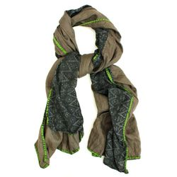 """<b>Patch NYC</b> Olive with Grey Ikat Scarf, <a href=""""http://www.patchnyc.com/products/olive-with-grey-ikat-double-f203"""">$196</a>"""
