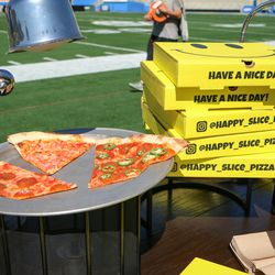 Another look at the Happy Slice pizza slices.