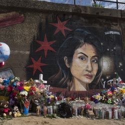 A mural for Marlen Ochoa-Lopez at 16th and South Newberry Ave in Pilsen.