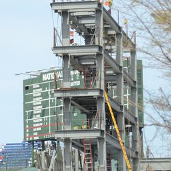 12:40 p.m. View of the right field video board structure from Addison -