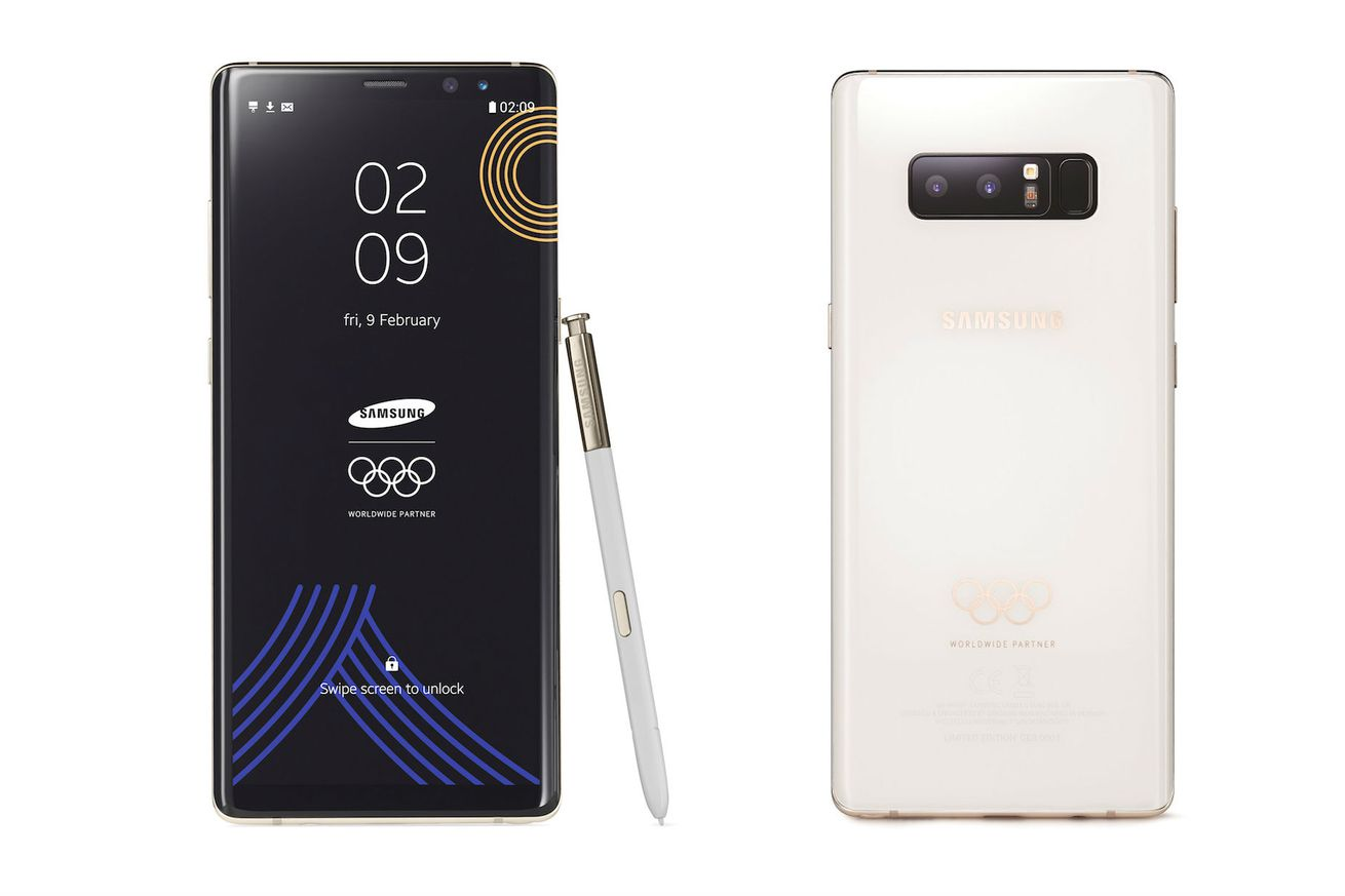 the samsung galaxy note 8 gets a winter olympics makeover