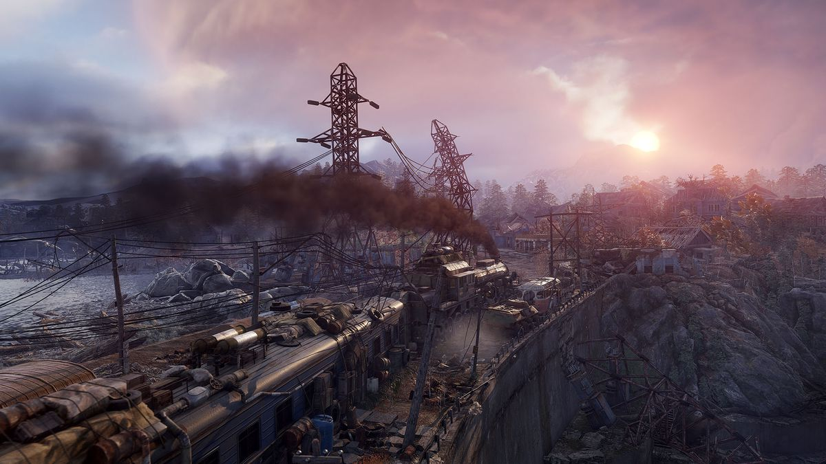 This screenshot from Metro Exodus shows a train barreling through a rundown countryside, with smoke puffing into the air. A pink sunset is visible in the distance.