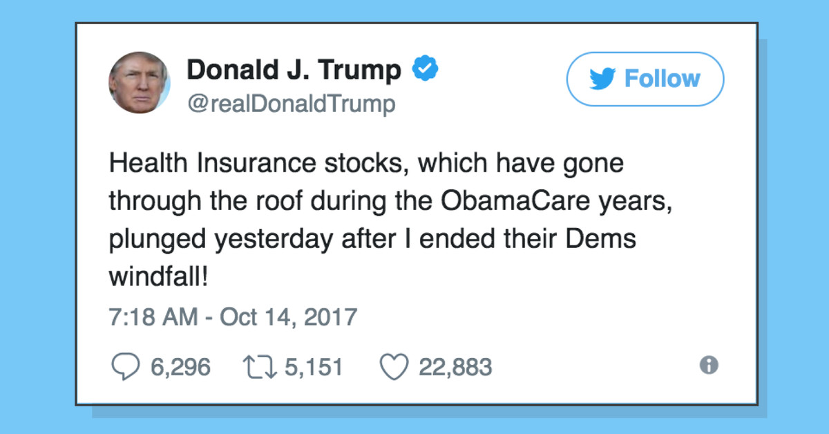 trump is bragging that his executive order caused health