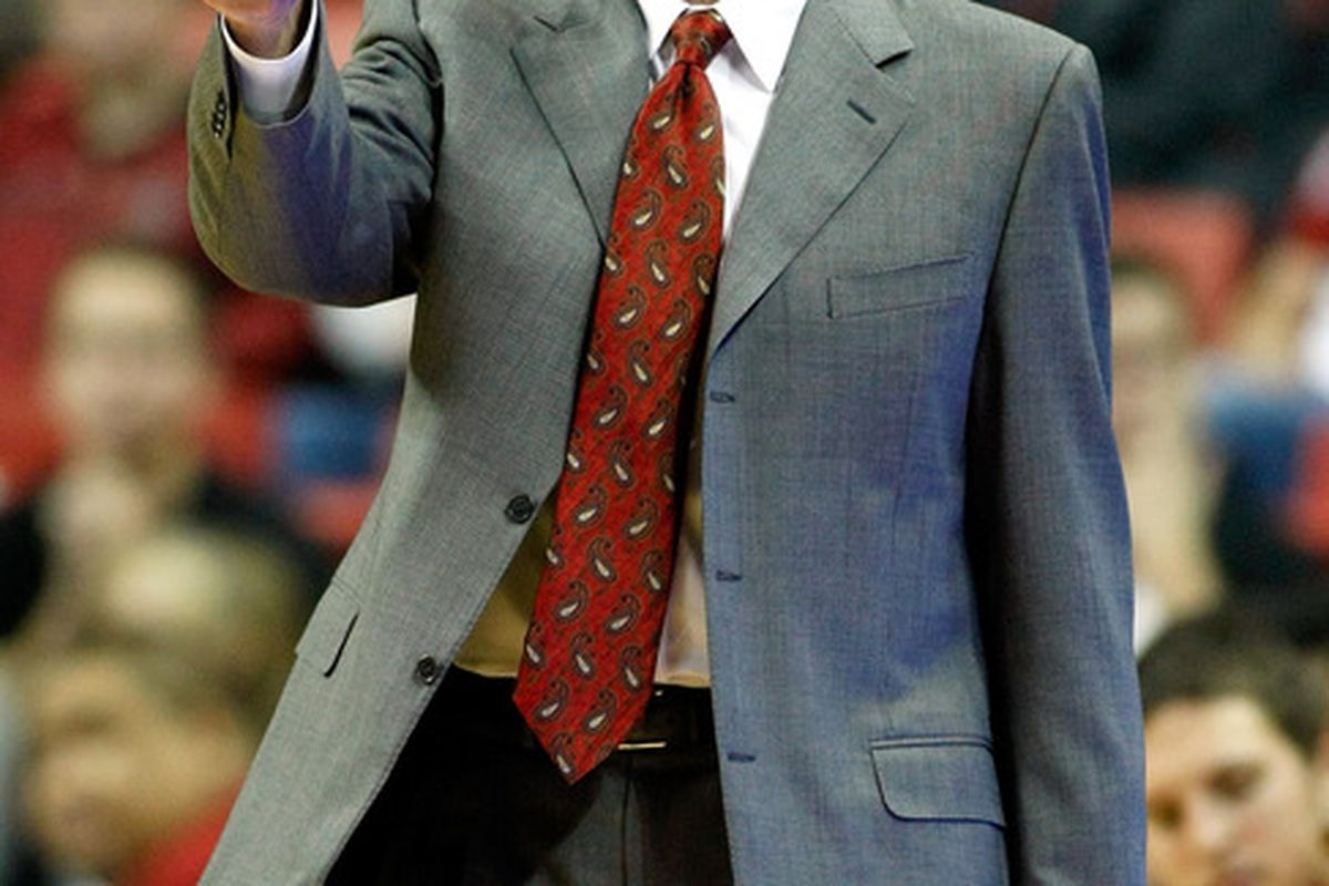 """""""Boomer Sooner? You got it guys!"""". Lon Kruger looks to be headed to Norman to coach the Oklahoma Sooners men's basketball team.  (Photo by Ethan Miller/Getty Images)"""