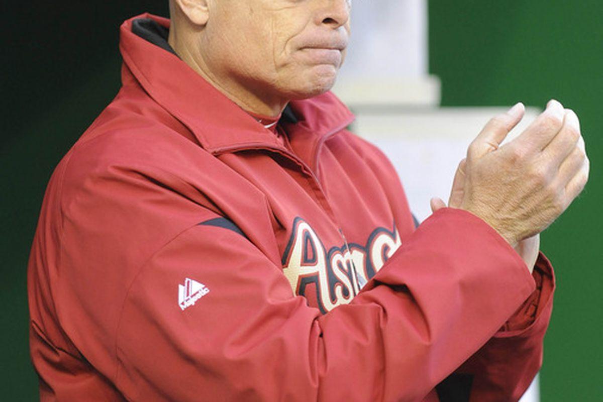 Apr 19, 2012; Washington, DC, USA; Houston Astros manager Brad Mills before game against the Washington Nationals at Nationals Park. Mandatory Credit: Brad Mills-US PRESSWIRE