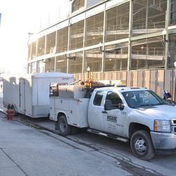 More utility crews parked on Addison across from the ballpark -