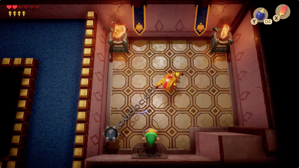 Link's Awakening Kanalet Castle Ball and Chain Soldier fight for the fifth and final Golden Leaf.