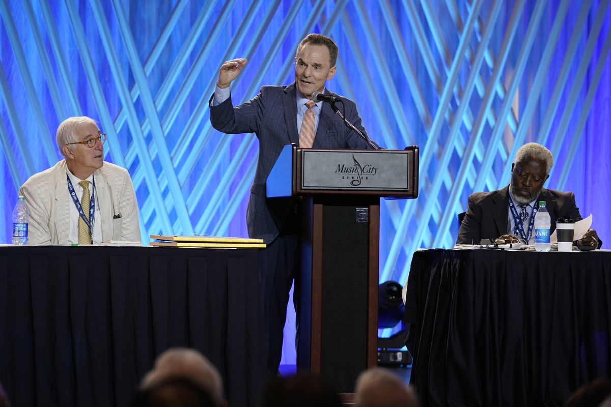 Dr. Ronnie Floyd, center, president and CEO of the executive committee of the Southern Baptist Convention, speaks during the executive committee plenary meeting at the denomination's annual meeting Monday, June 14, 2021, in Nashville, Tenn.