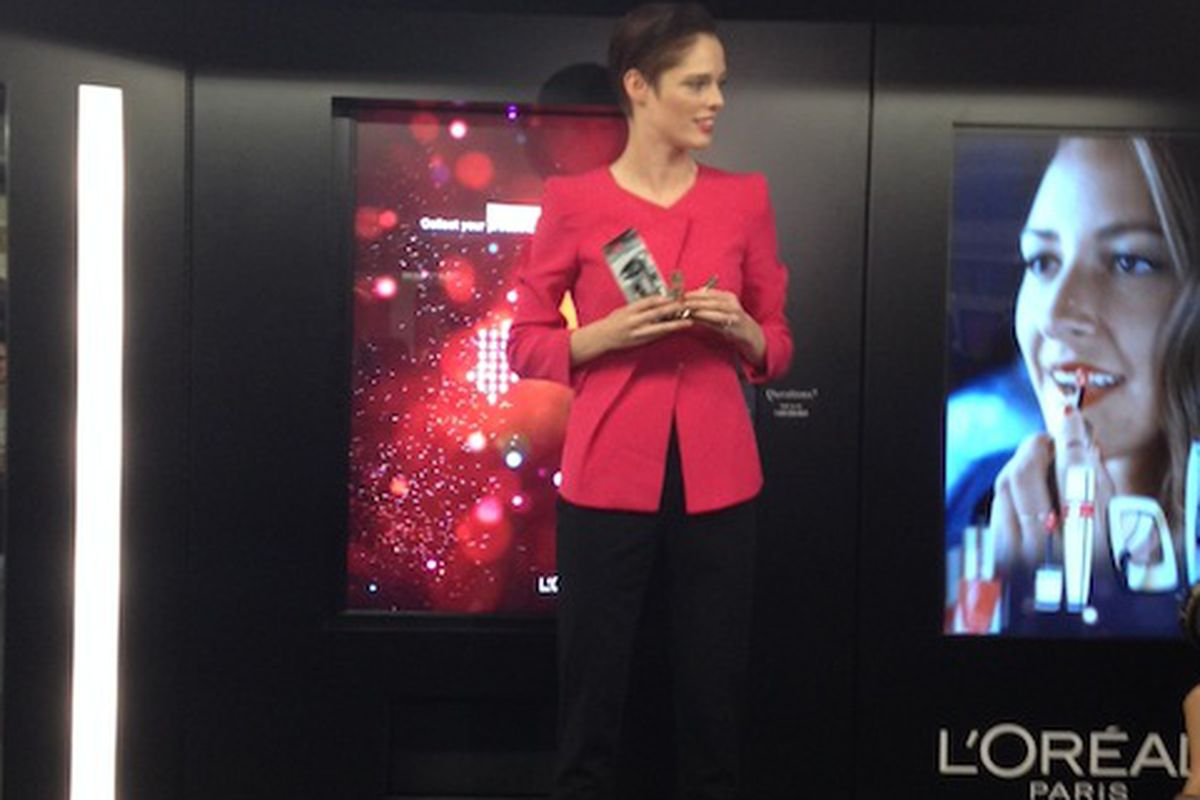 Coco Rocha demonstrating how to shop for makeup en route to the subway