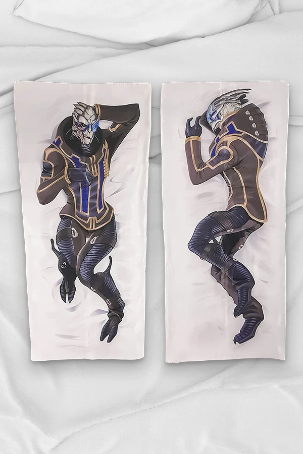 An image of Garrus Vakarian, printed on a body pillow cover. He's fully armored and lying on his side in a cozy pose.