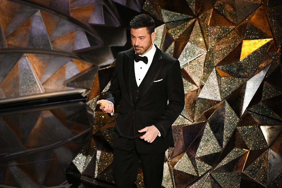 Jimmy Kimmel onstage at the Oscars