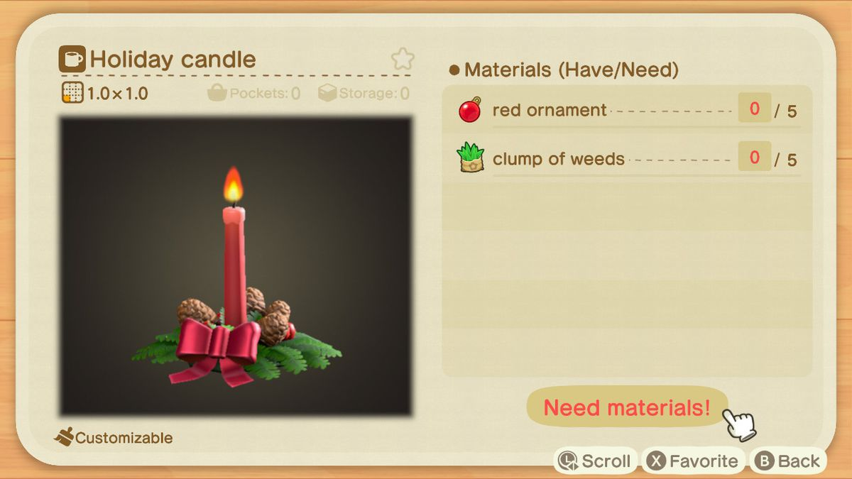 An Animal Crossing recipe for a Holiday Candle