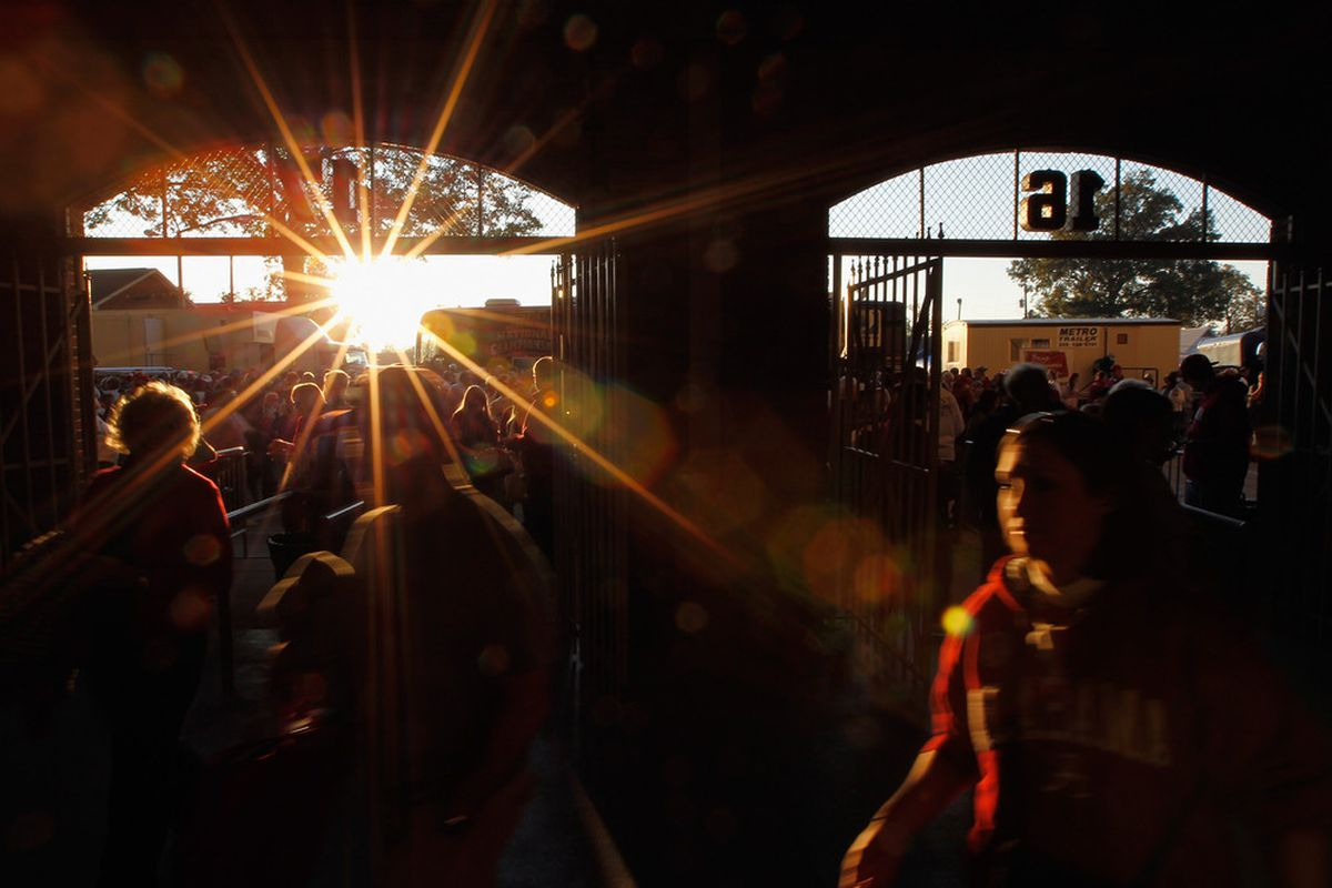 TUSCALOOSA, AL - NOVEMBER 05:  Fans enter the gates of Bryant-Denny Stadium prior to the game between the LSU Tigers and Alabama Crimson Tide on November 5, 2011 in Tuscaloosa, Alabama.  (Photo by Streeter Lecka/Getty Images)