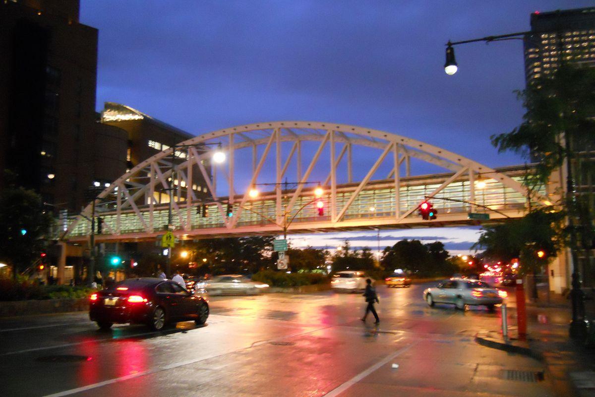 The bridge to Stuyvesant High School.