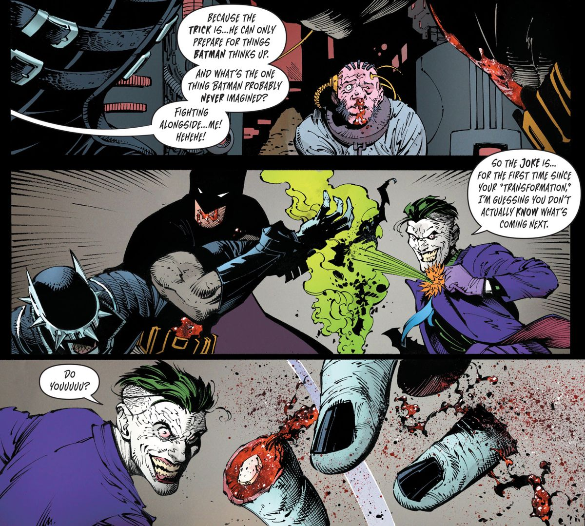 The Joker and Batman fight the Batman Who Laughs (the Monitor looks on) in Dark Nights: Metal #6, DC Comics (2018).