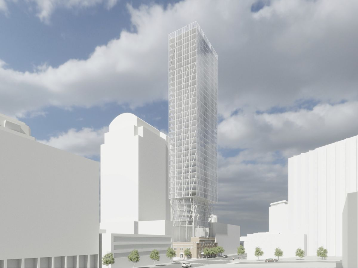 An architect's rendering of a tall, narrow, contemporary tower. At the bottom is a two-story, older brick structure. There are other, somewhat tall buildings surrounding it.