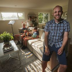 Jon Larsen poses for a photo with his sons — CS, Peter, Eric and George — at their home in Millcreek on Wednesday, Sept. 16, 2020.