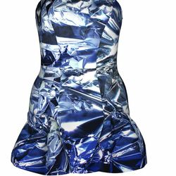 """<a href=""""http://www.tinkertailor.com/designer/#/customize/117"""">Cocktail minidress in cobalt foil print</a>, $700. It can be customized into a midi for $800."""