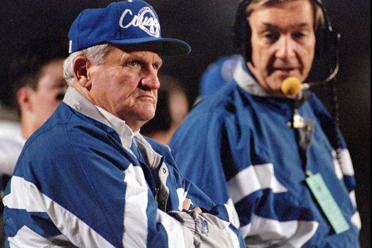 BYU football head coach LaVell Edwards, left, and offensive line coach Roger French at the Copper Bowl.