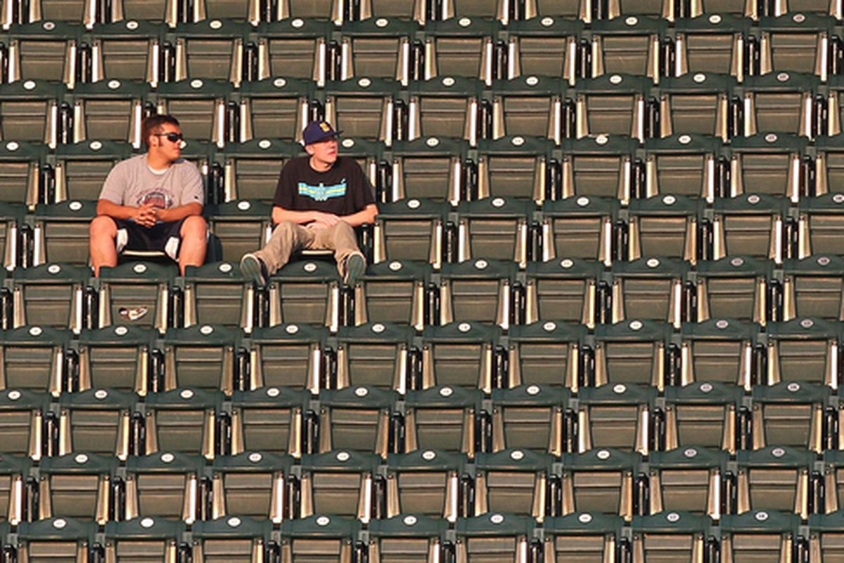 SEATTLE - AUGUST 03:  Seattle Mariners' fans watch the game against the Texas Rangers from the upper right field deck at Safeco Field on August 3 2010 in Seattle Washington. (Photo by Otto Greule Jr/Getty Images)