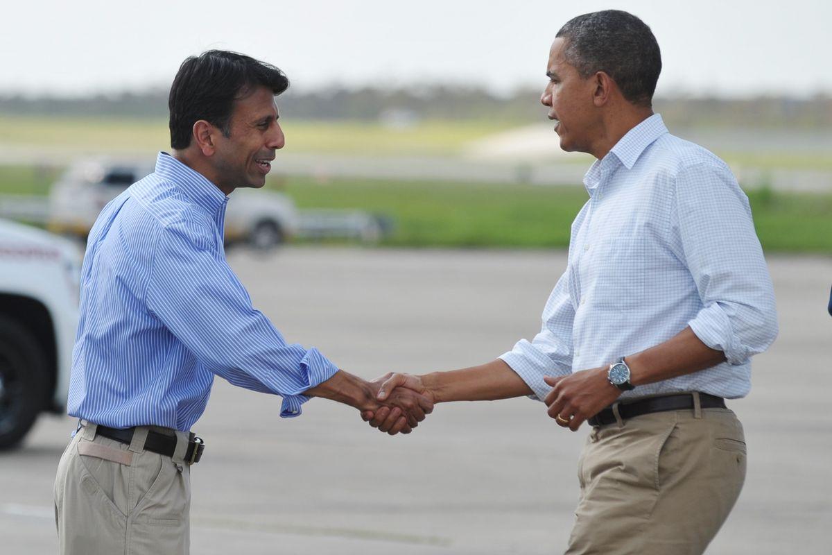 President Obama shakes hands with Louisiana Gov. Bobby Jindal.