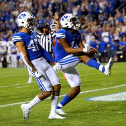 Brigham Young Cougars wide receiver Keanu Hill (1) celebrates a long catch setting up a Cougar score as BYU and Utah play an NCAA football game at LaVell Edwards Stadium in Provo on Saturday, Sept. 11, 2021.