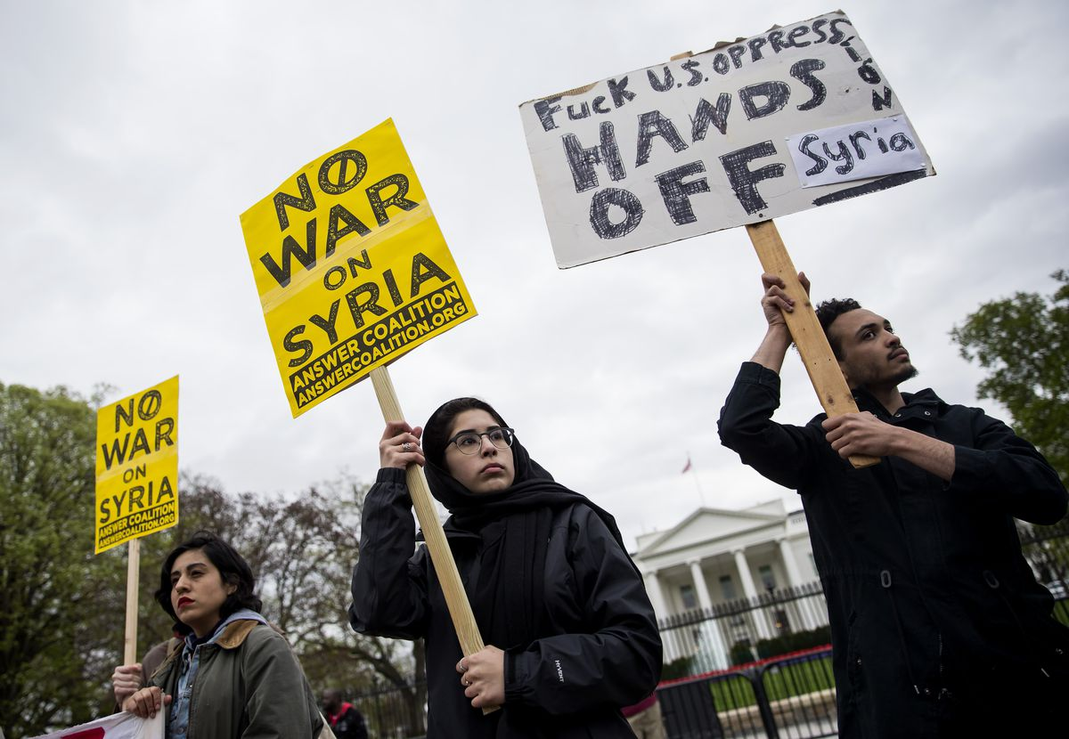 Demonstrators Protest Over President Trump's Airstrikes In Syria