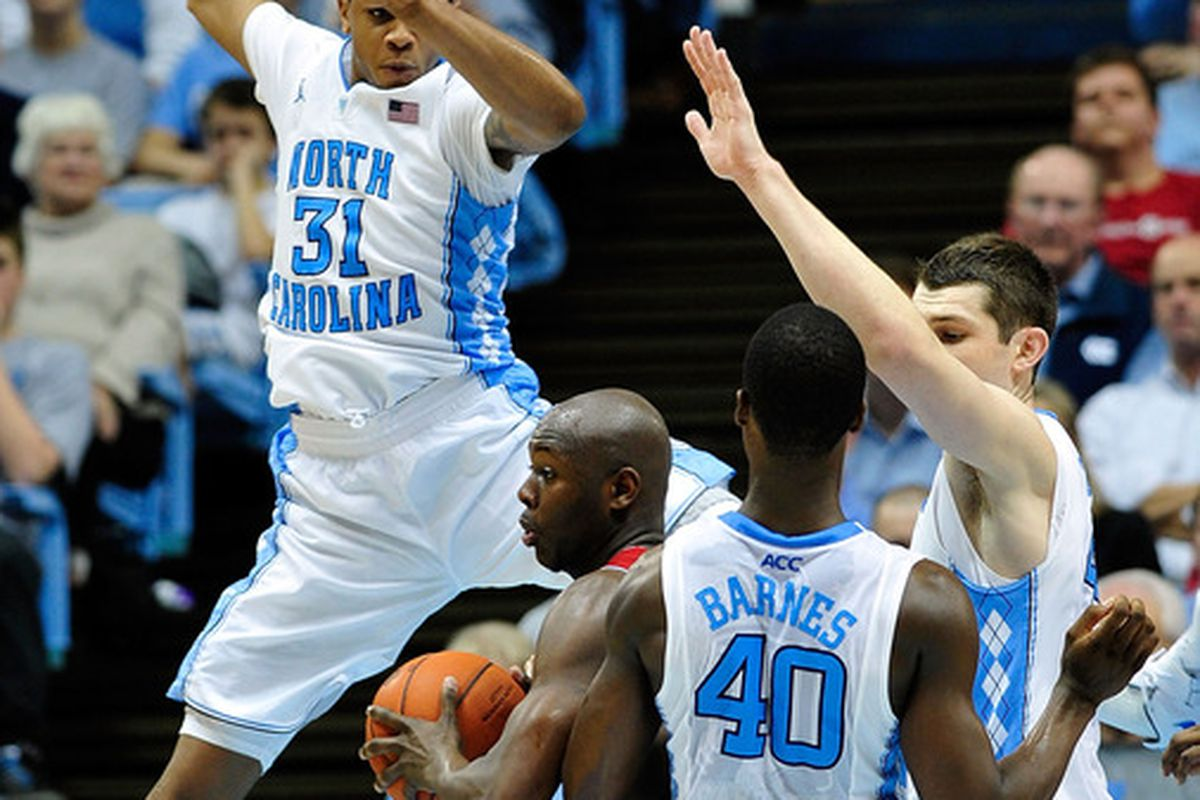 DeShawn Painter finds himself in the company of three All-ACC selections. It probably went poorly for him; North Carolina won 74-55.
