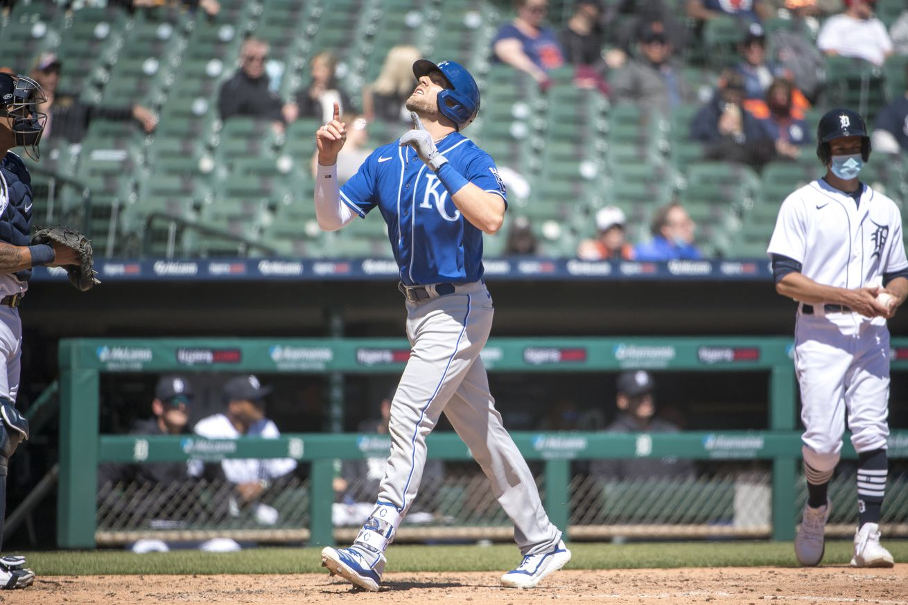 Hunter Dozier #17 of the Kansas City Royals celebrates a home run against the Detroit Tigers during the top of the sixth inning at Comerica Park on April 25, 2021 in Detroit, Michigan.