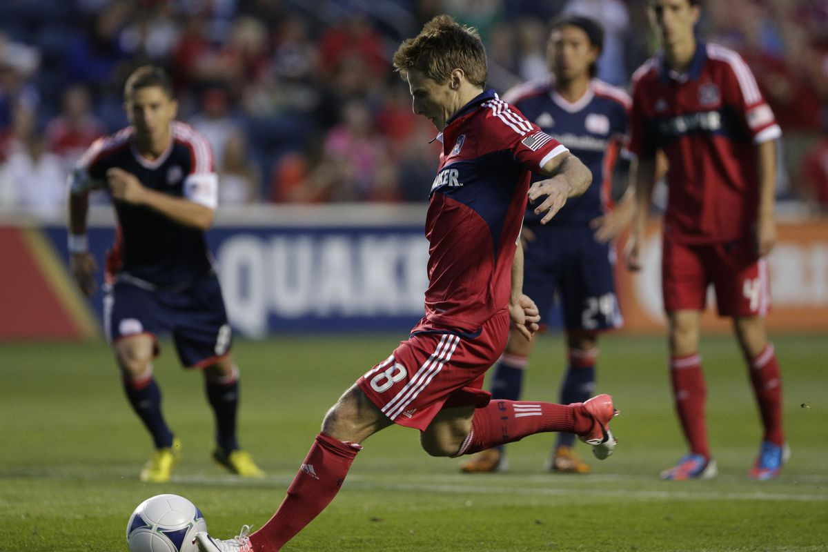 Chris Rolfe's early goal off a penalty kick helped the Chicago Fire get off to a dream start against the New England Revolution on Saturday night. The Men in Red ended up winning 2-1.