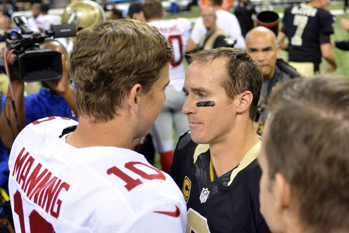 Eli Manning and Drew Brees post-game