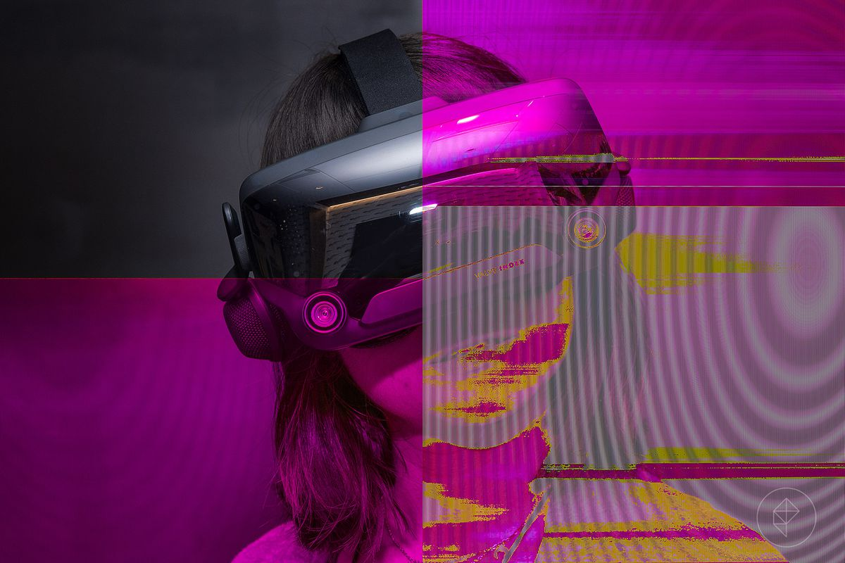 Glitchy, corrupted image of a women wearing a VR headset