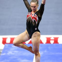 Maile O'Keefe performs her performs her beam routine as Utah and Washington compete in an NCAA gymnastics meet at the Huntsman Center in Salt Lake City on Saturday, Jan. 30, 2021. No. 4 Utah won 197.475 to 193.300.