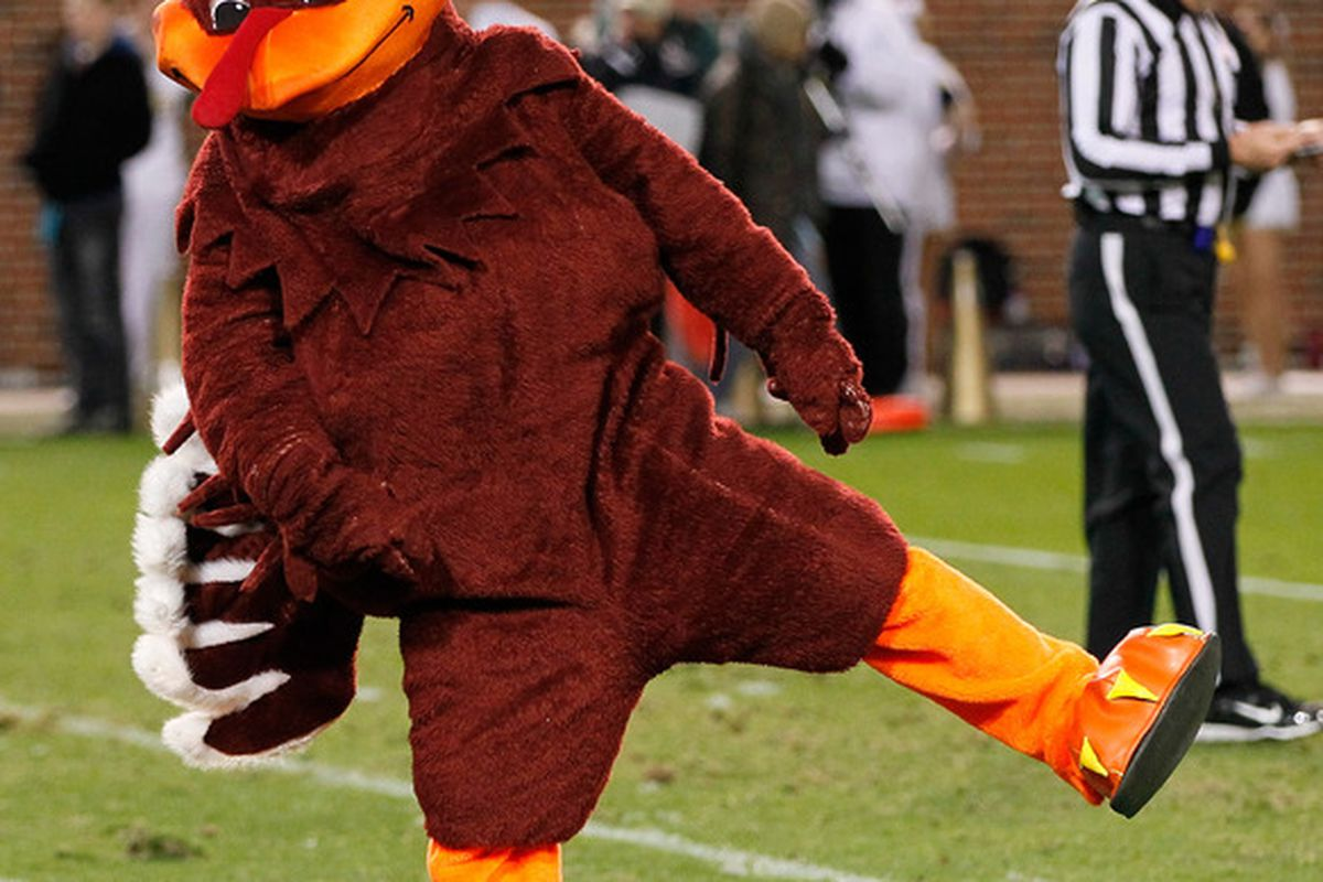 ATLANTA, GA - NOVEMBER 10:  The HokieBird, mascot of the Virginia Tech Hokies, celebrates after a touchdown against the Georgia Tech Yellow Jackets at Bobby Dodd Stadium on November 10, 2011 in Atlanta, Georgia.  (Photo by Kevin C. Cox/Getty Images)