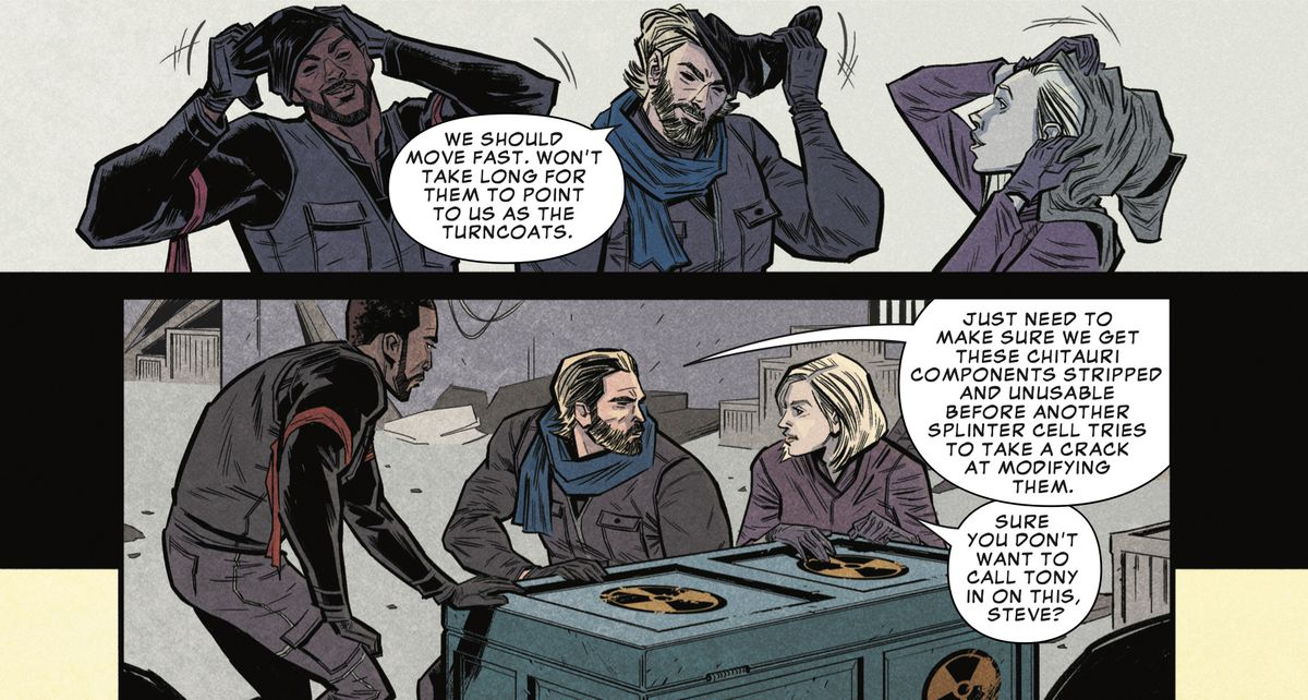 The Falcon, Captain America and Black Widow in Marvel's Avengers: Infinity War Prelude #1, Marvel Comics 2018.