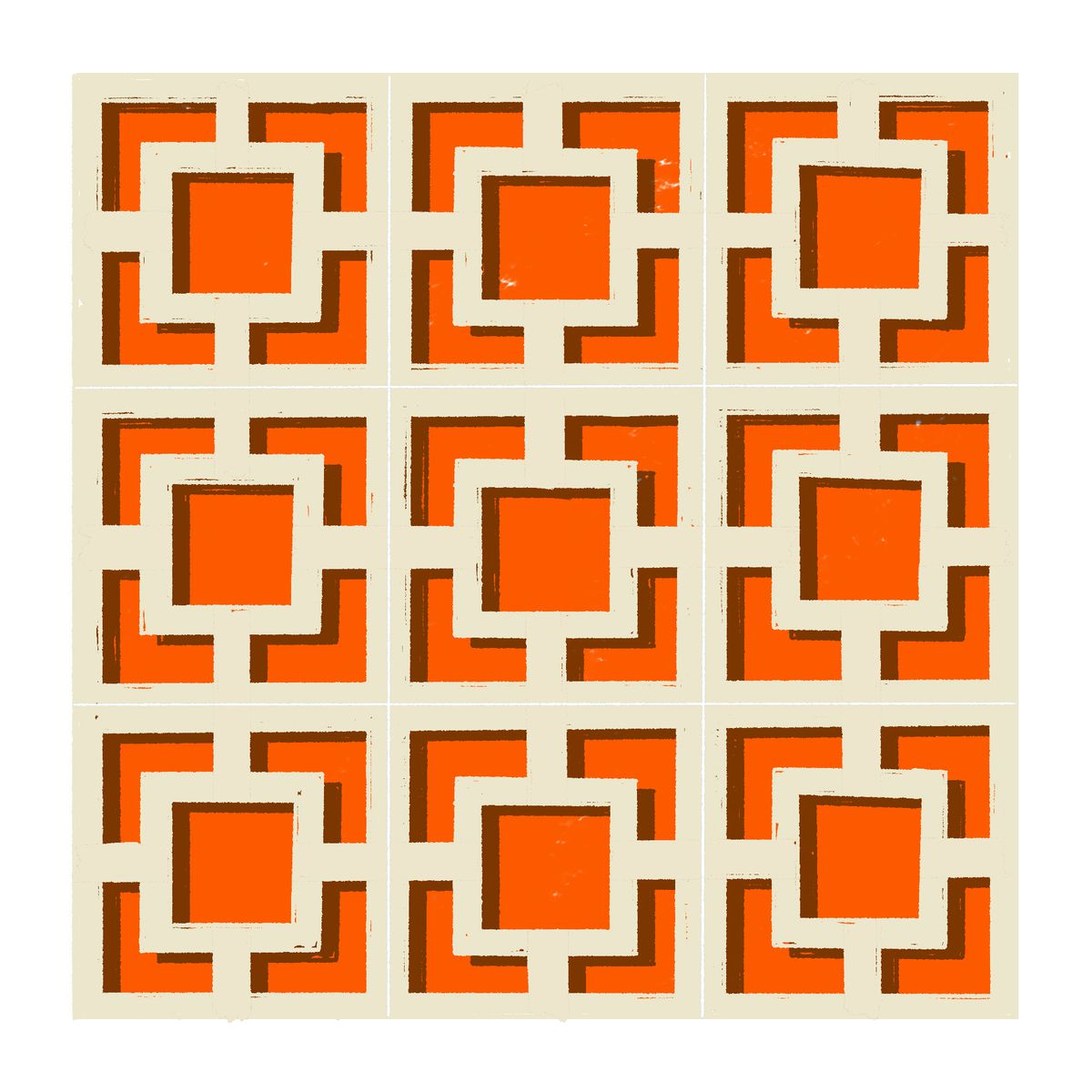 A 3x3 grid of square frames with smaller squares centered inside. Each smaller square is bisected in the horizontally and vertically by straight lines, though the inside of the smaller square remains hollow. Illustration.