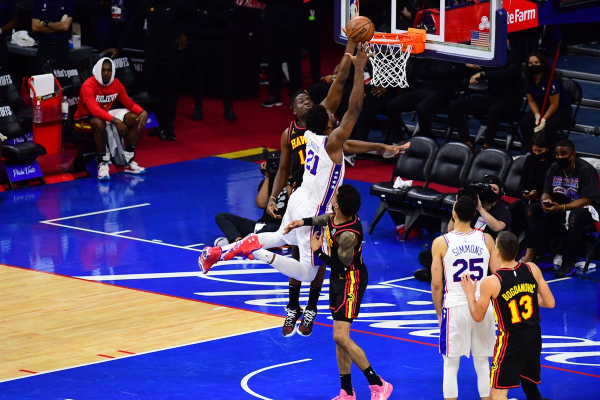 Joel Embiid #21 of the Philadelphia 76ers shoots the ball against the Atlanta Hawks during Round 2, Game 7 of the 2021 NBA Playoffs on June 20, 2021 at Wells Fargo Center in Philadelphia, Pennsylvania.