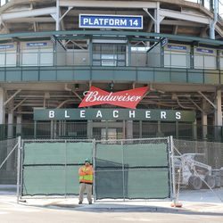 11:25 a.m. View of the fenced off bleacher entrance -