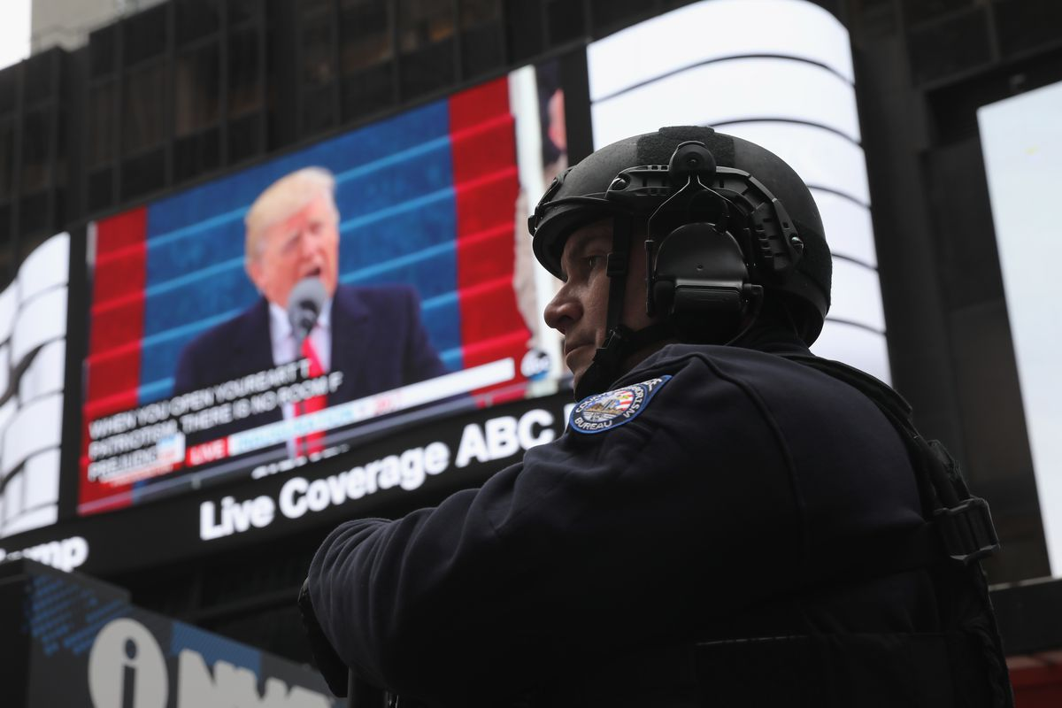 New Yorkers Watch The Inauguration Of Donald Trump