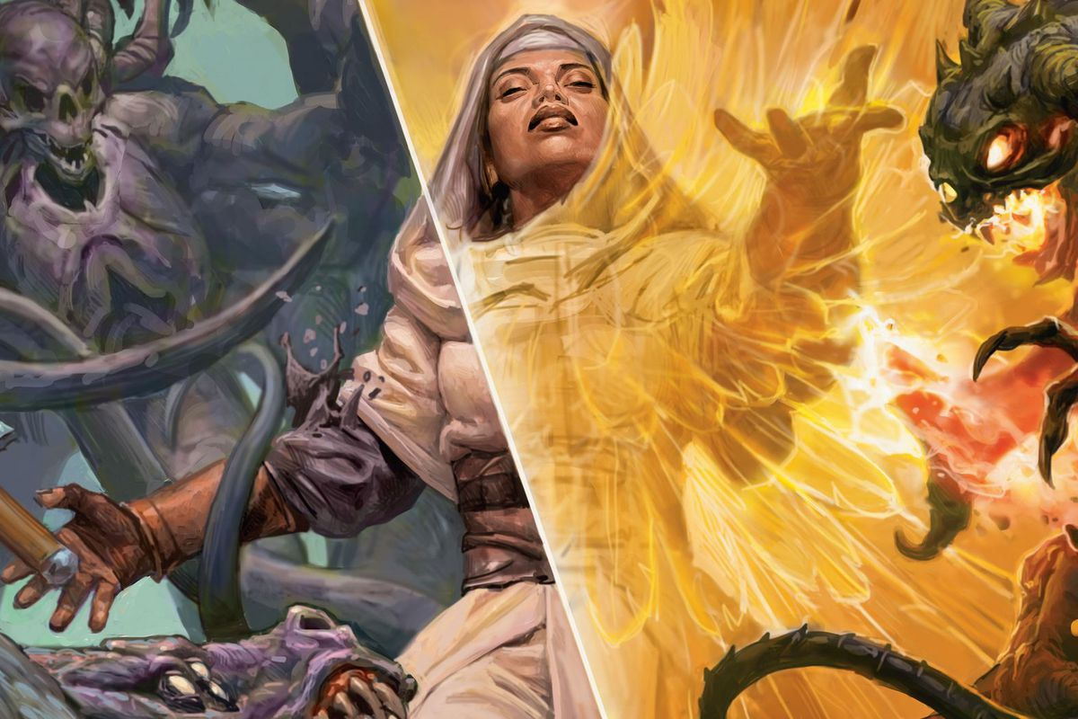 A planeswalker casts a spell with a yellow glow in key art for Angel's Grace, a card from Time Spiral Remastered.