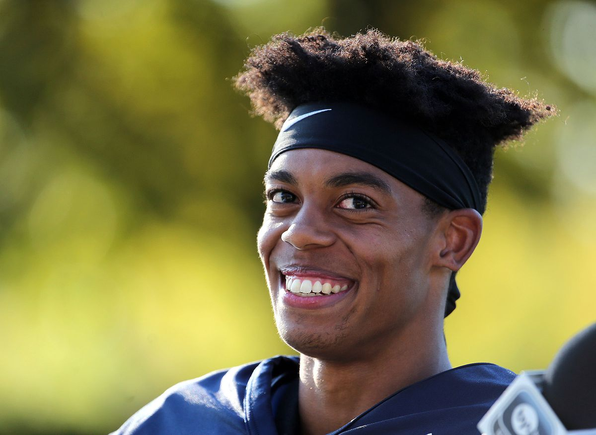 Micah Simon smiles during an interview after football practice at BYU in Provo on Monday, July 31, 2017. After inking a deal with the Carolina Panthers following an excellent performance in last month's pro day at BYU, Simon is grinning again.
