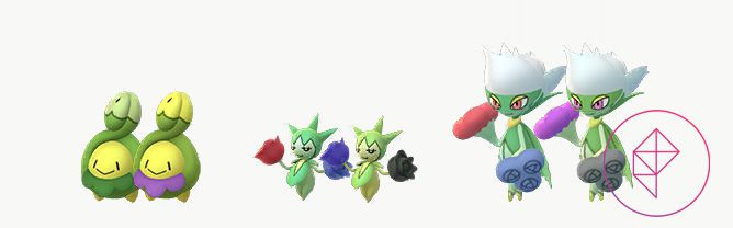 A comparison between Shiny Budew, Roselia, and Roserade. Shiny Budew's bib is purple instead of green, Shiny Roselia's flowers are blue and black instead of red and blue, and Shiny Roserade's flowers are purple and black instead of red and blue.